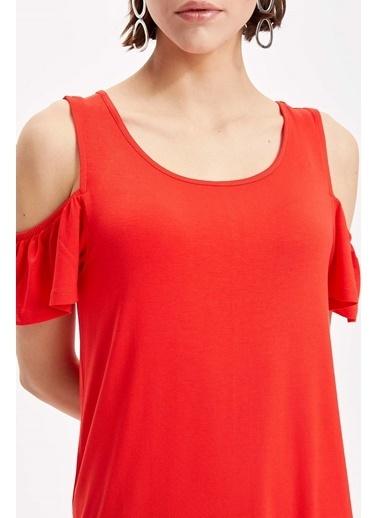 DeFacto Omuz Dekolteli Örme Elbise Kırmızı